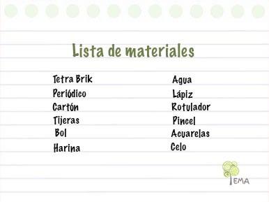 Materiales para el florero con tetra brik